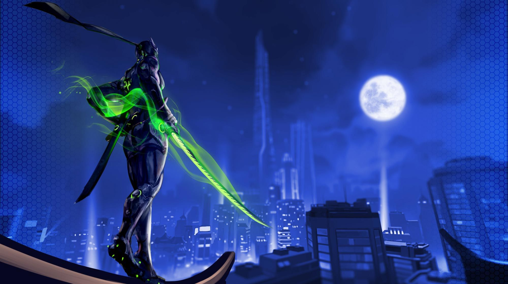 Download wallpaper Genji skin full HD on GameWalls Overwatch 2000x1120
