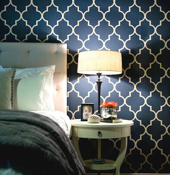 Stencil Navy Yellow Color Bedroom Paint Ideas Trellis Wallpaper 550x568