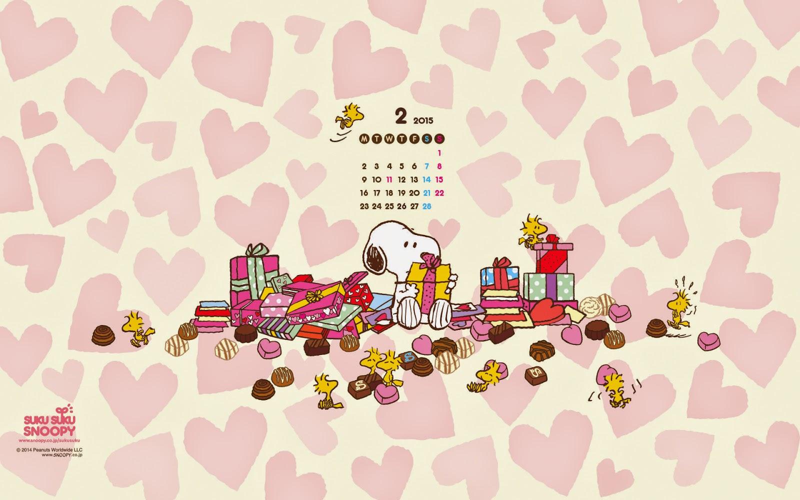 I love Kawaii Snoopy February 2015 Wallpaper Calendar 1600x1000