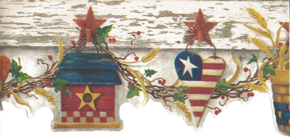 Wallpaper Border Patriotic Country Hearts Baskets Angels Stars on Off 1000x472