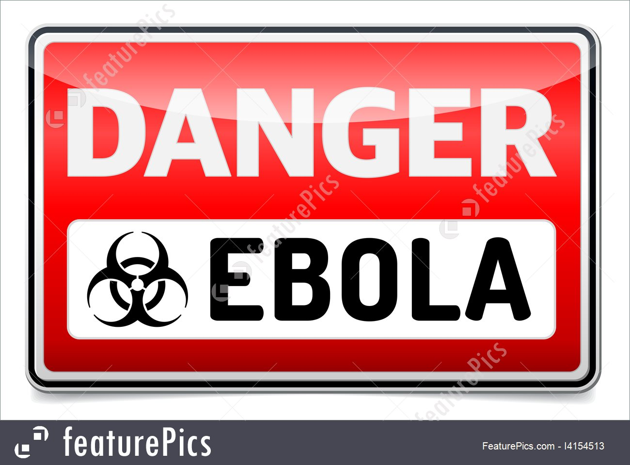 Ebola Virus Danger Sign With Reflect And Shadow On White Background 1300x959