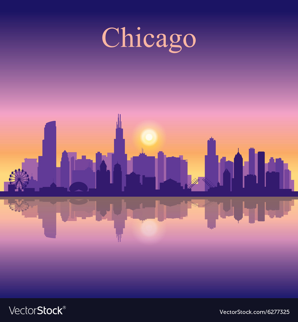 Chicago city skyline silhouette background Vector Image 1000x1080