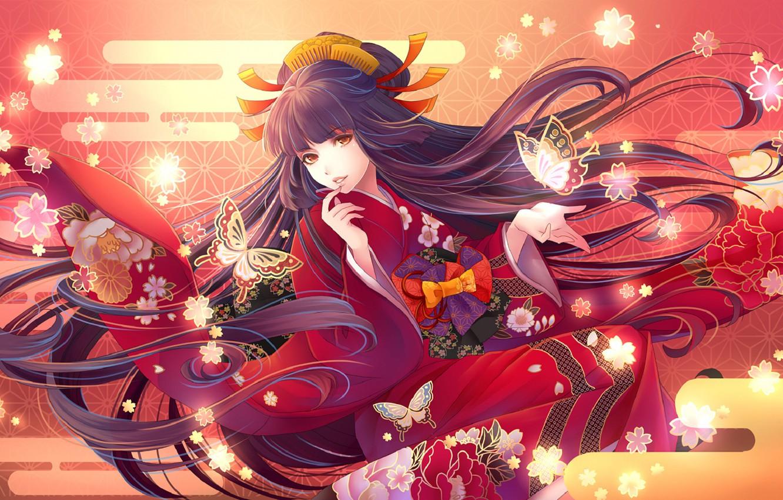 Wallpaper girl anime art yukata images for desktop section 1332x850