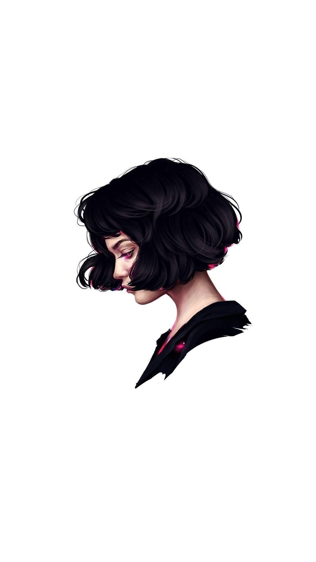 Minimal woman short hair art 1080x1920 wallpaper Short hair 1080x1920