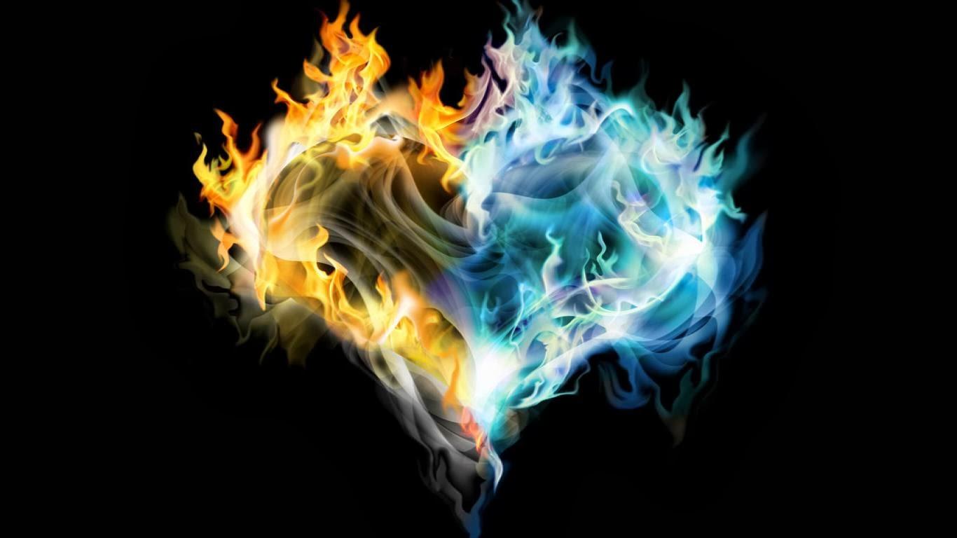 Blue Fire Heart Wallpaper Fire heart wallpapers 1366x768
