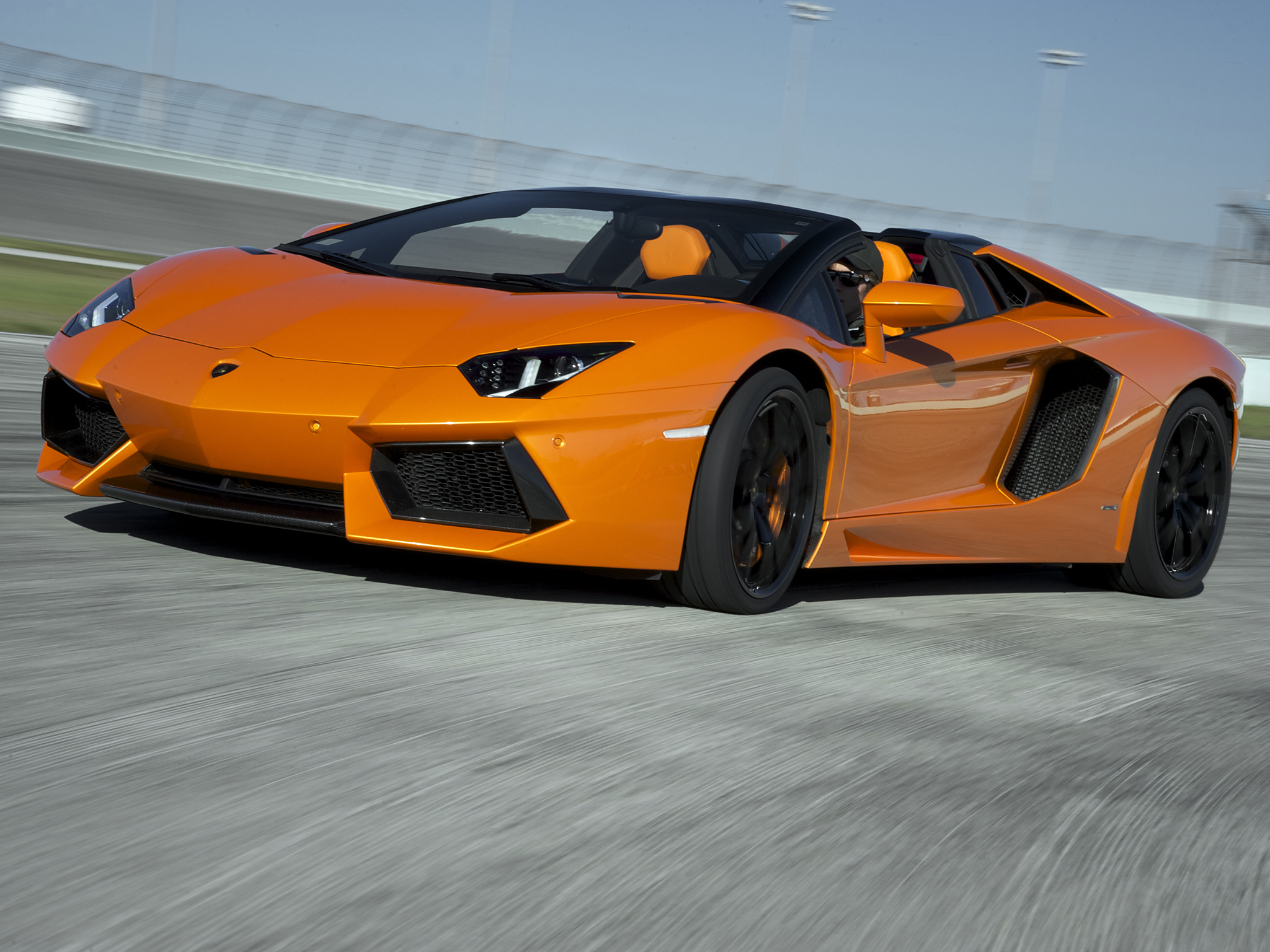 2014 Lamborghini Aventador LP700 4 Roadster supercar orange wallpaper 2048x1536