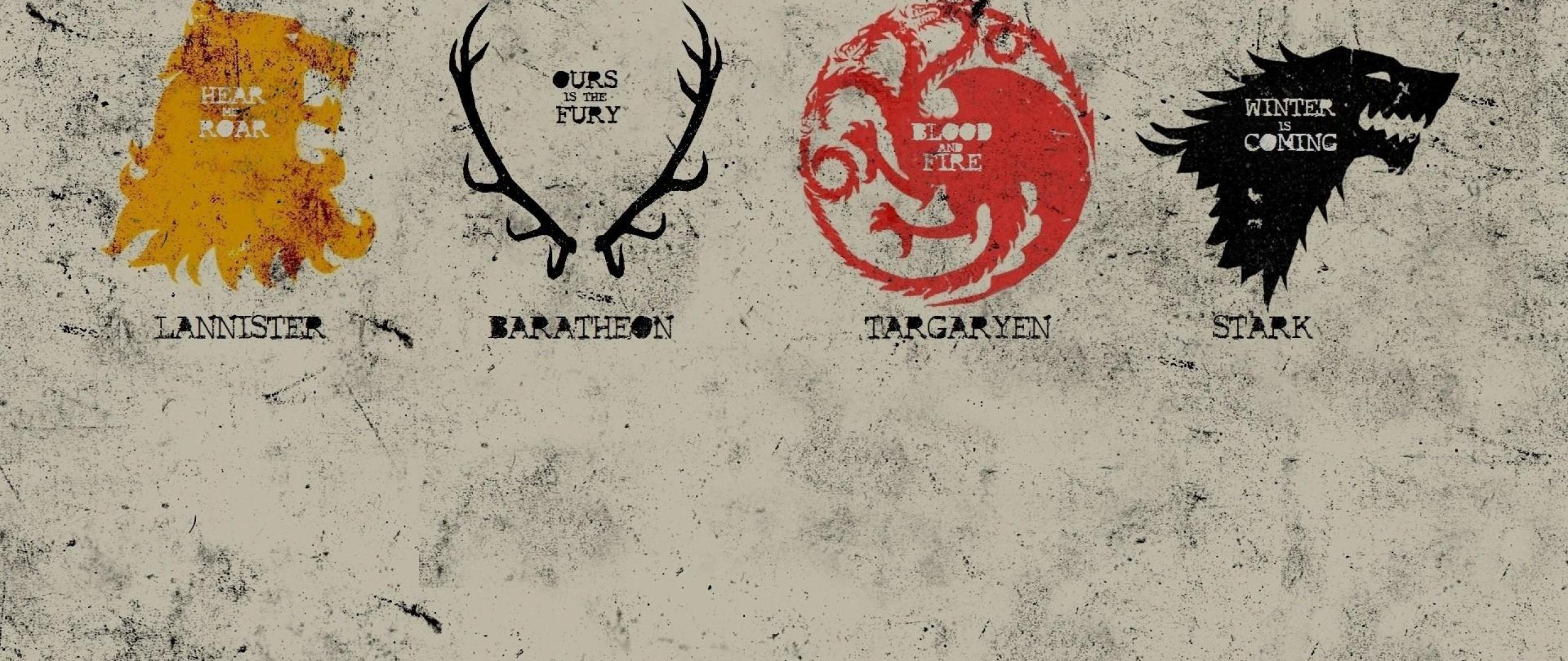 Poster A song of ice and fire Sigils Game of thrones HD 2560x1080