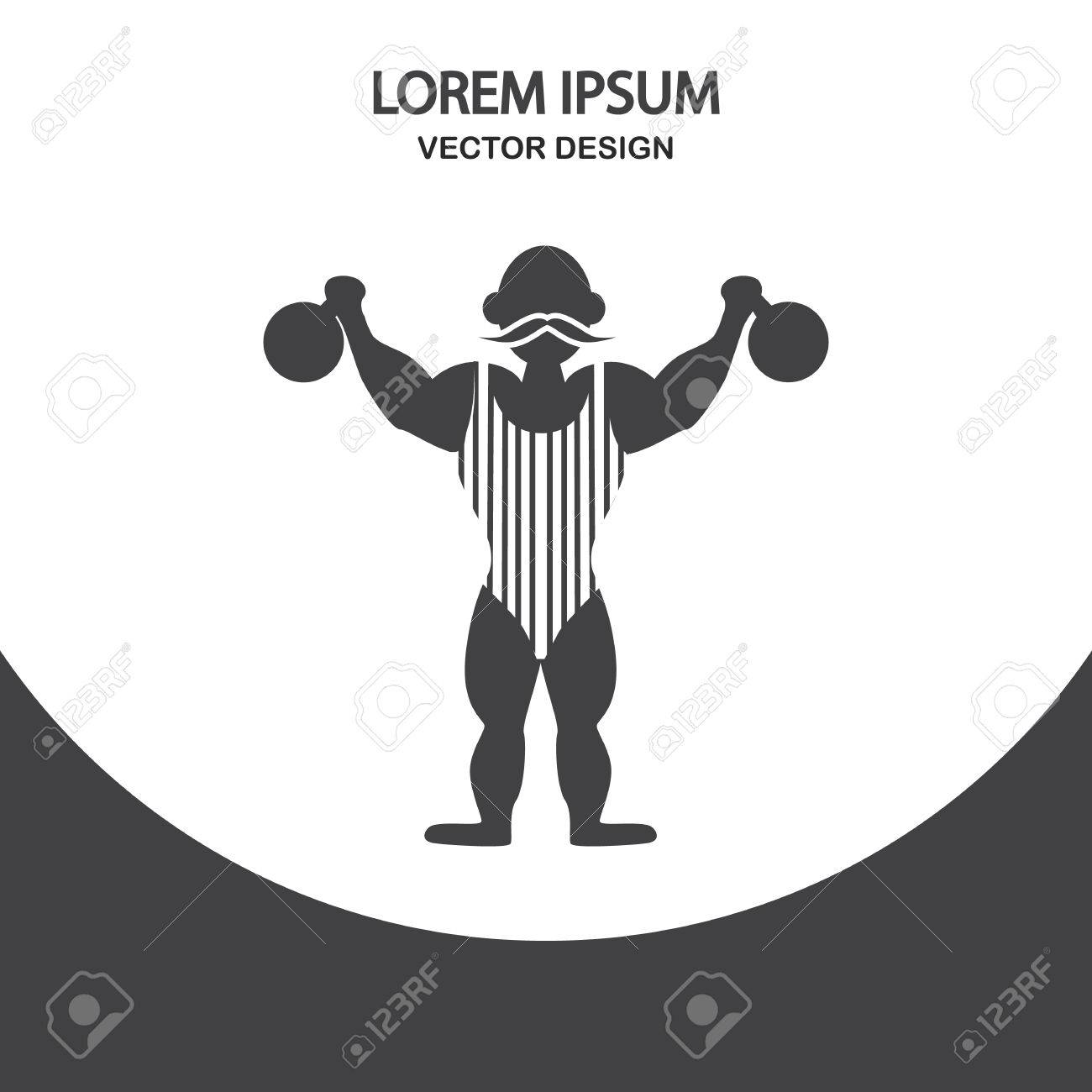 Circus Strongman Icon On The Background Royalty Cliparts 1300x1300