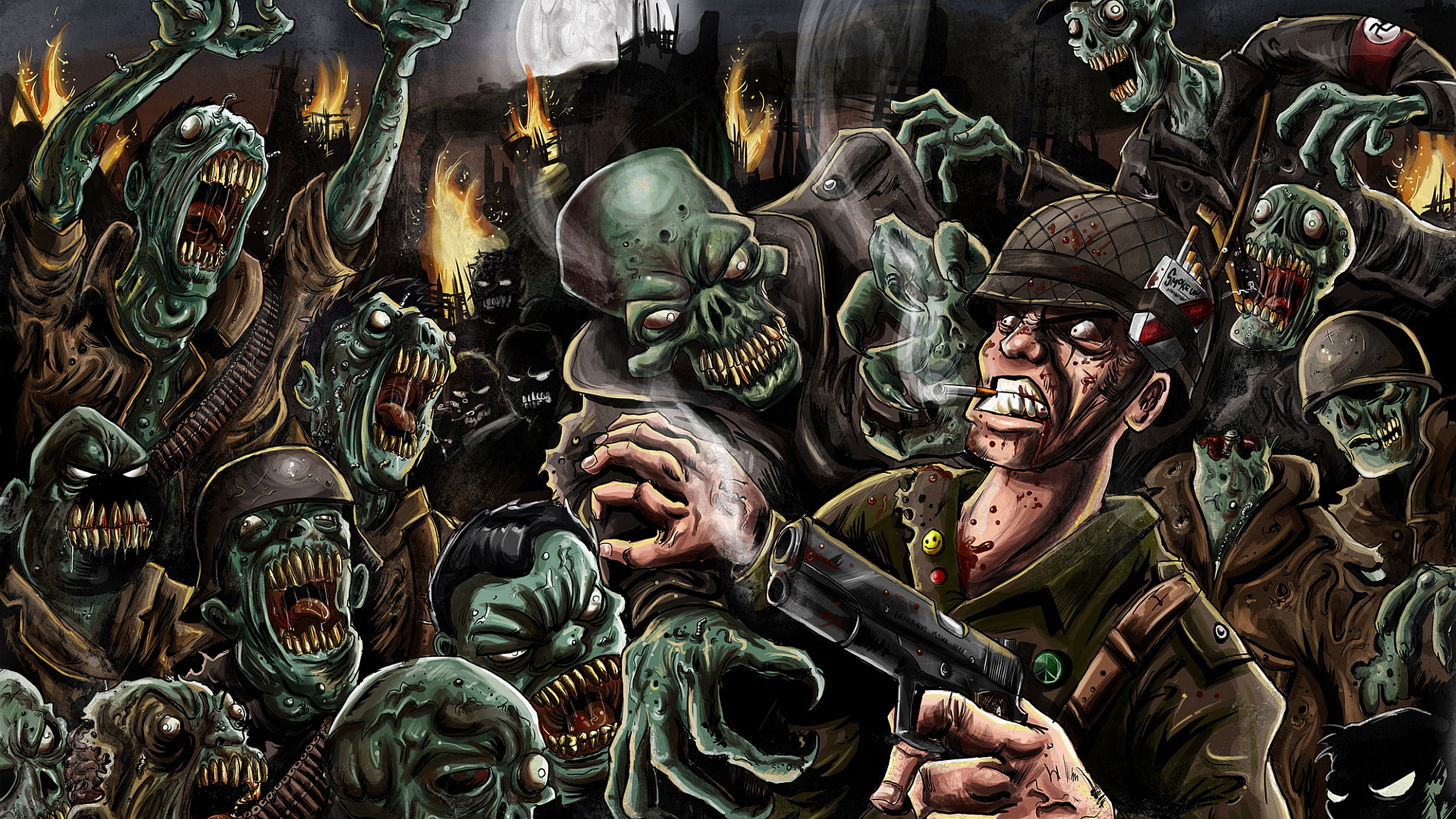soldier fighting nazi zombies cartoon wallpaper from Zombie wallpapers 3840x2160
