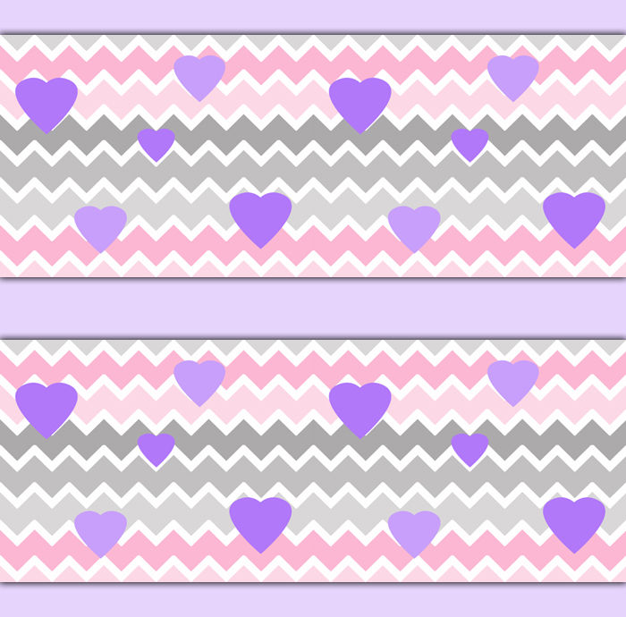 Pink Grey Ombre Chevron Wallpaper Border Wall Decals Purple Heart Girl 700x690