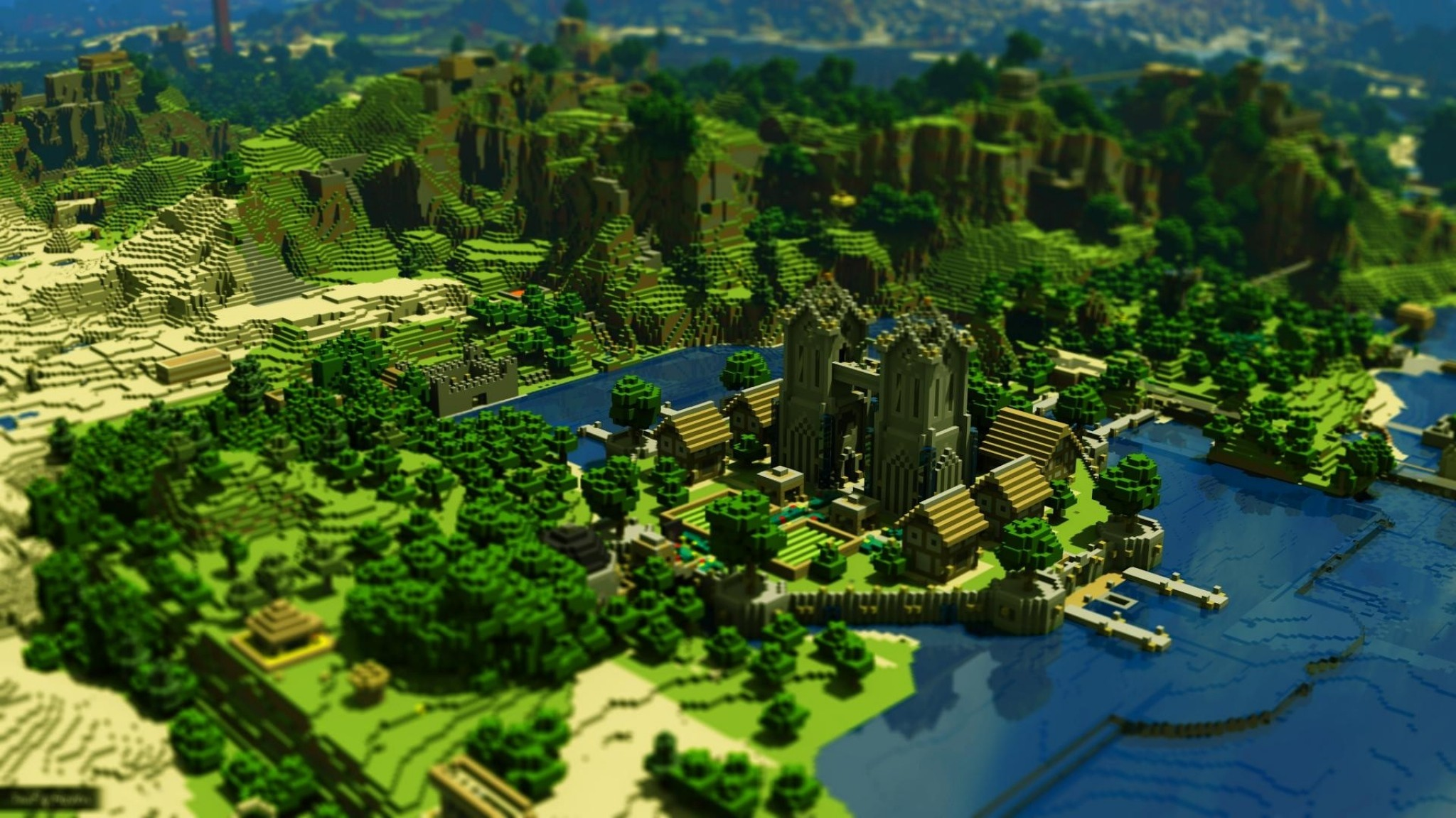 Minecraft Trees Houses Mountains Water 21189 HD Minecraft 2048x1152
