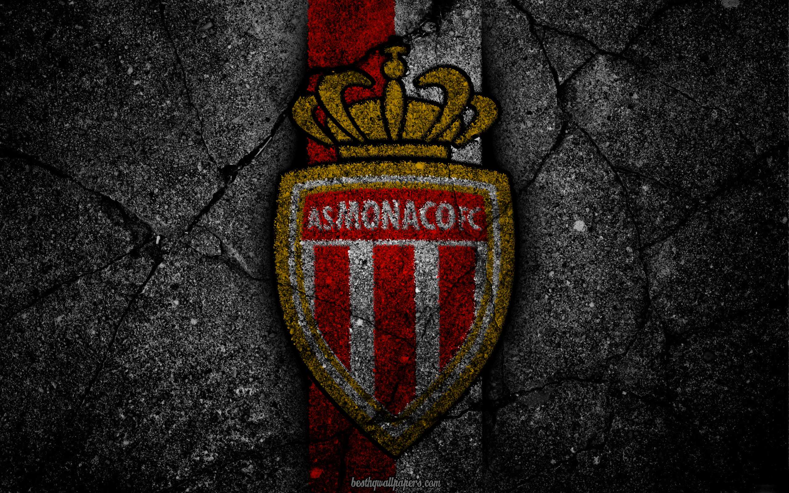 Download wallpapers Monaco logo art Liga 1 soccer football 2560x1600