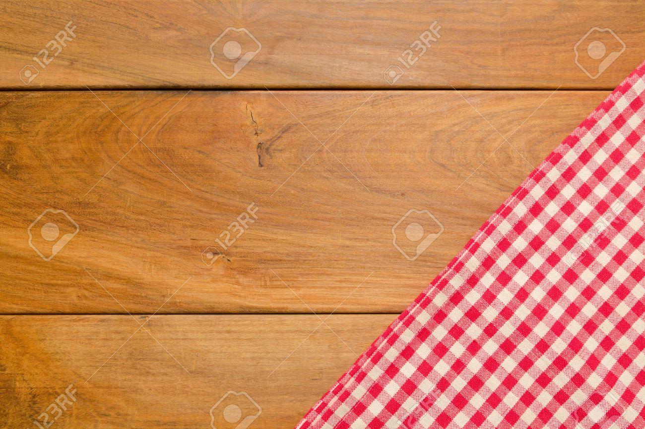 Background With Wooden Tabletop And Checked Tablecloth Stock Photo 1300x866