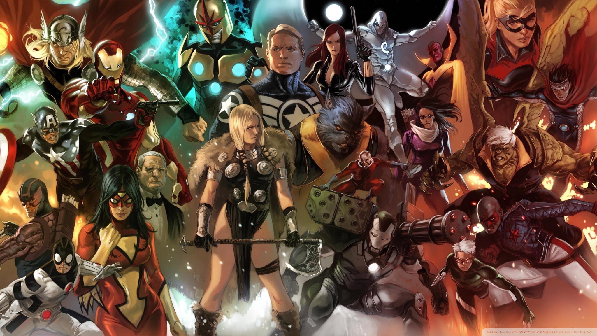 Marvel Comics Characters Wallpaper 20481152 162054 HD Wallpaper Res 2048x1152