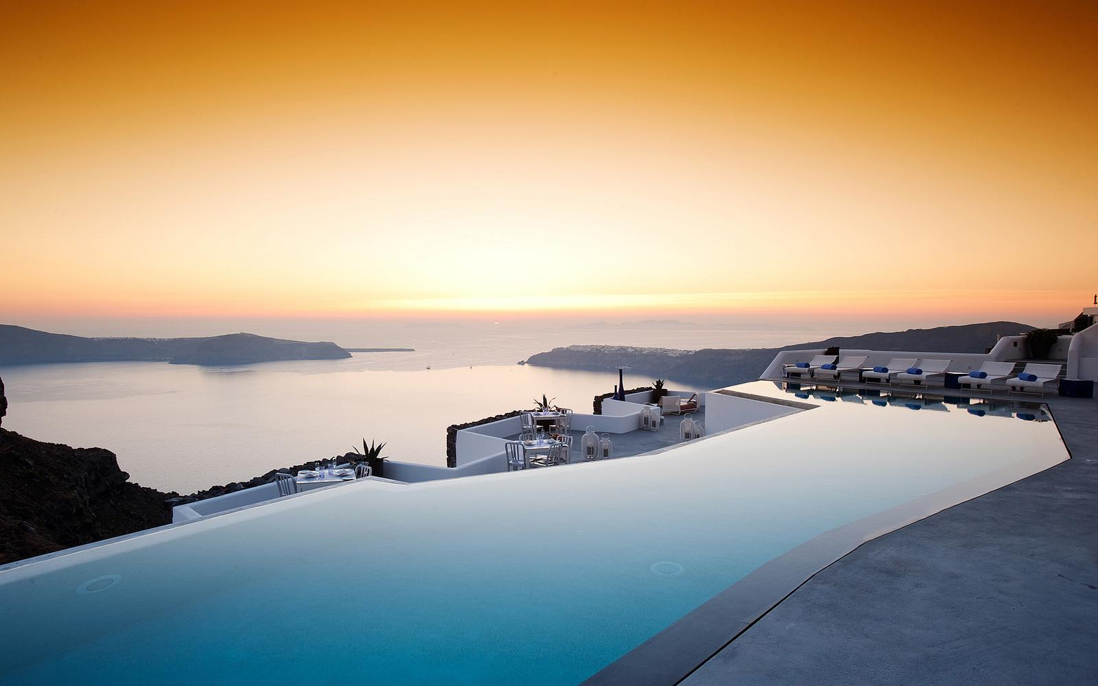 Santorini Sunset HD Wallpaper Background Images 1600x1000