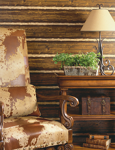 Faux Wood Textured Wallpaper Authentically Creates a Rustic Look and 460x600