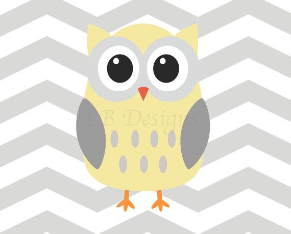 Horizontal Gray and Yellow Chevron Owl Nursery Print by LJBrodock 8 570x459