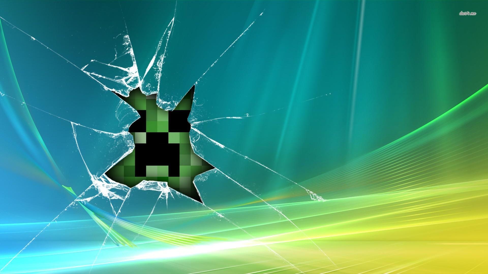 Creeper behind broken glass wallpaper   773848 1920x1080