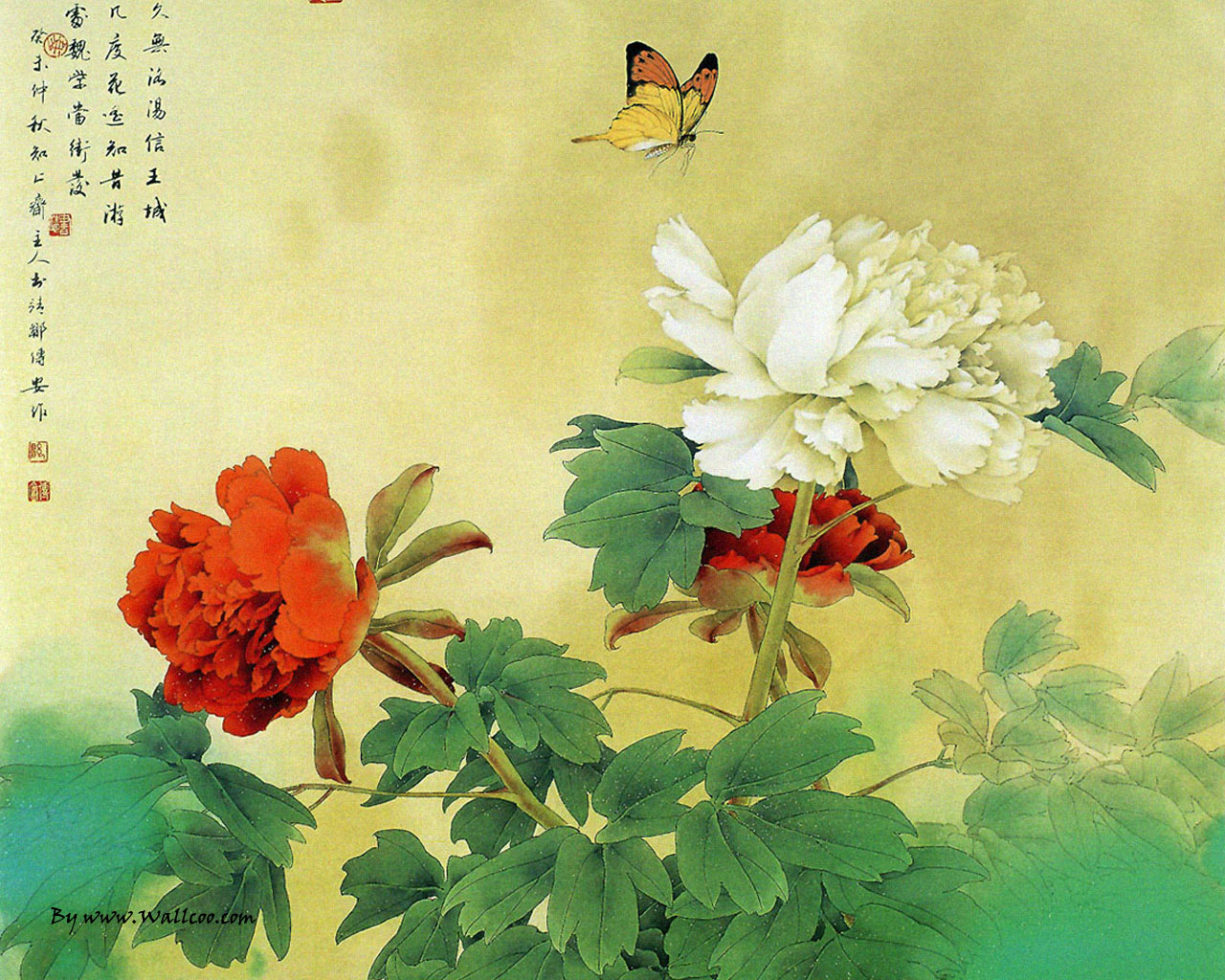 Chinese Paintings Chinese Gongbi Paintings Flower and Bird 1280x1024