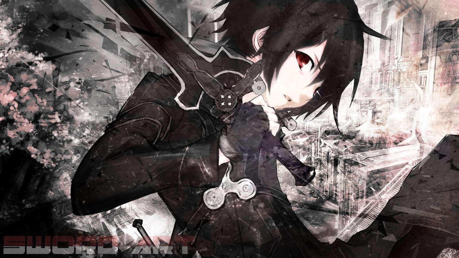Swort Art Oline Kirito Coat Black Brunette Anime HD Wallpaper Desktop 1600x900