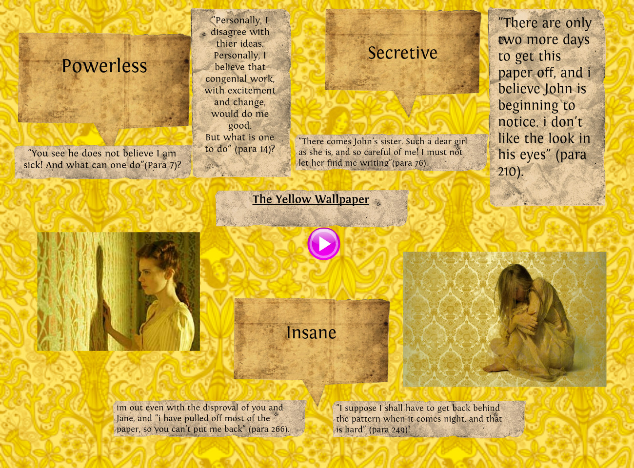 the yellow wallpaper breaking free essay In the yellow wallpaper, originally published in 1899, charlotte gilman presents the internal dialogue of a woman diagnosed with hysteria- and for whom total rest has been prescribed.