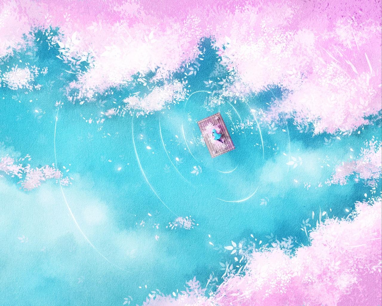 Download wallpaper 1280x1024 lake raft silhouette shore art 1280x1024