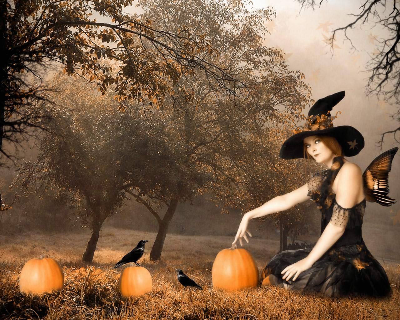 All Hallows Eve Witch 1280x1024