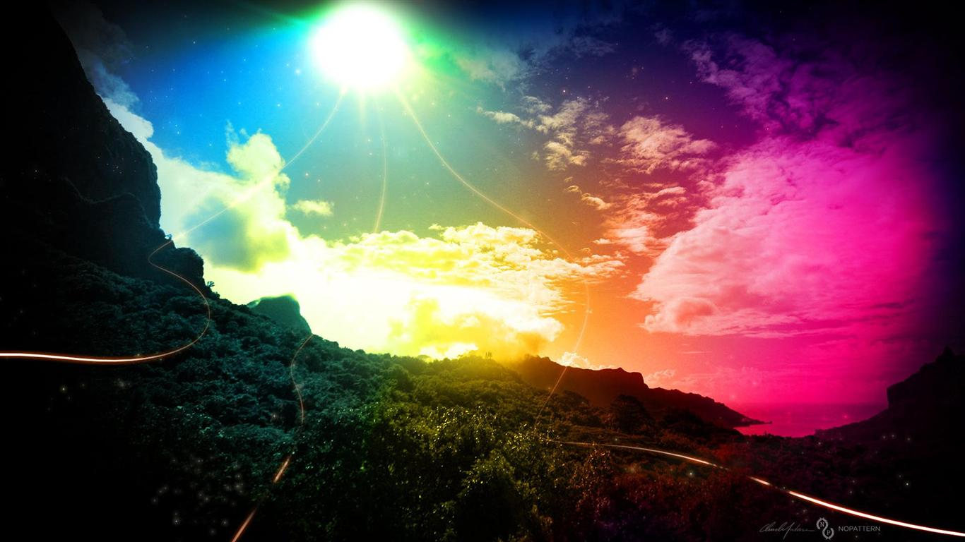 1366x768 hd sky rainbow and color light backgrounds widescreen 1366x768