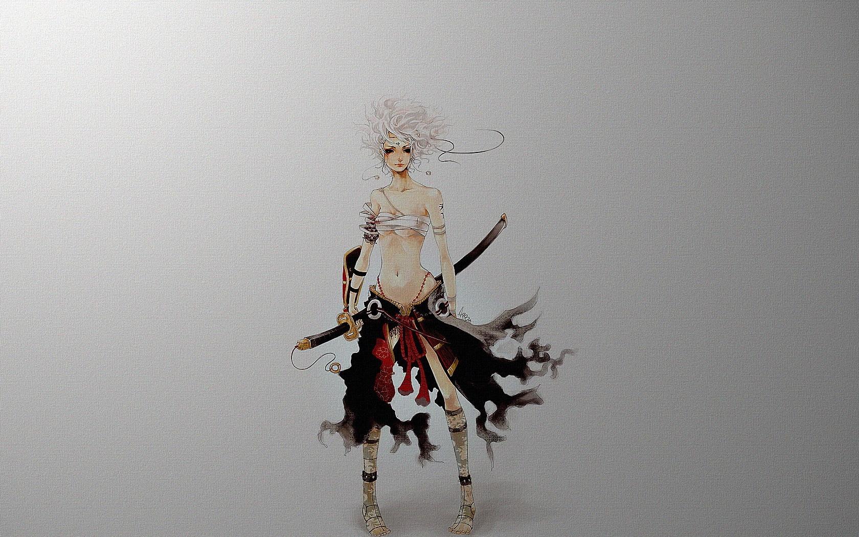 Samurai Girl blonde girl gray samurai sexy sword 1680x1050