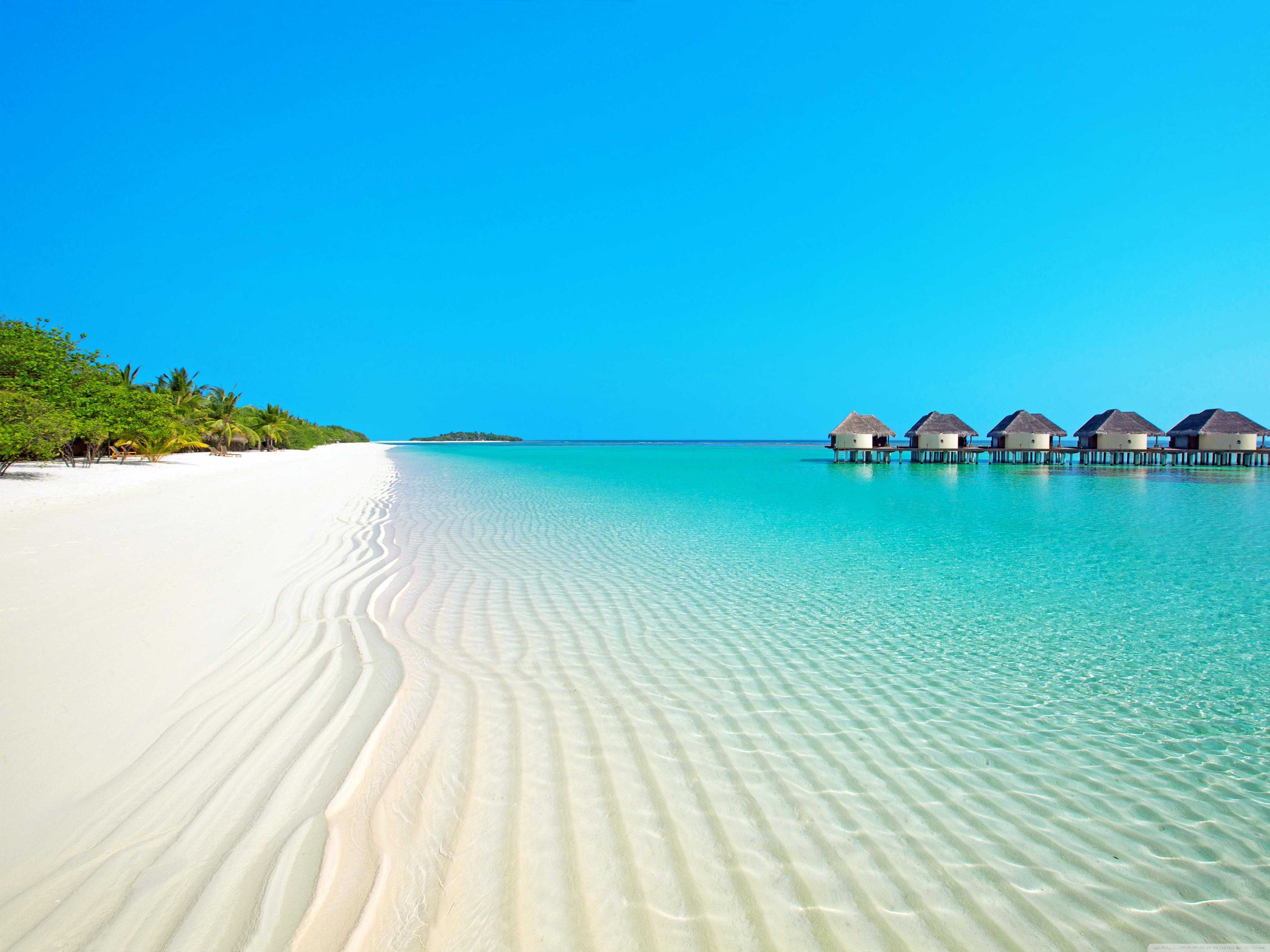 Island Beach 4K HD Desktop Wallpaper for Dual Monitor 4096x3072