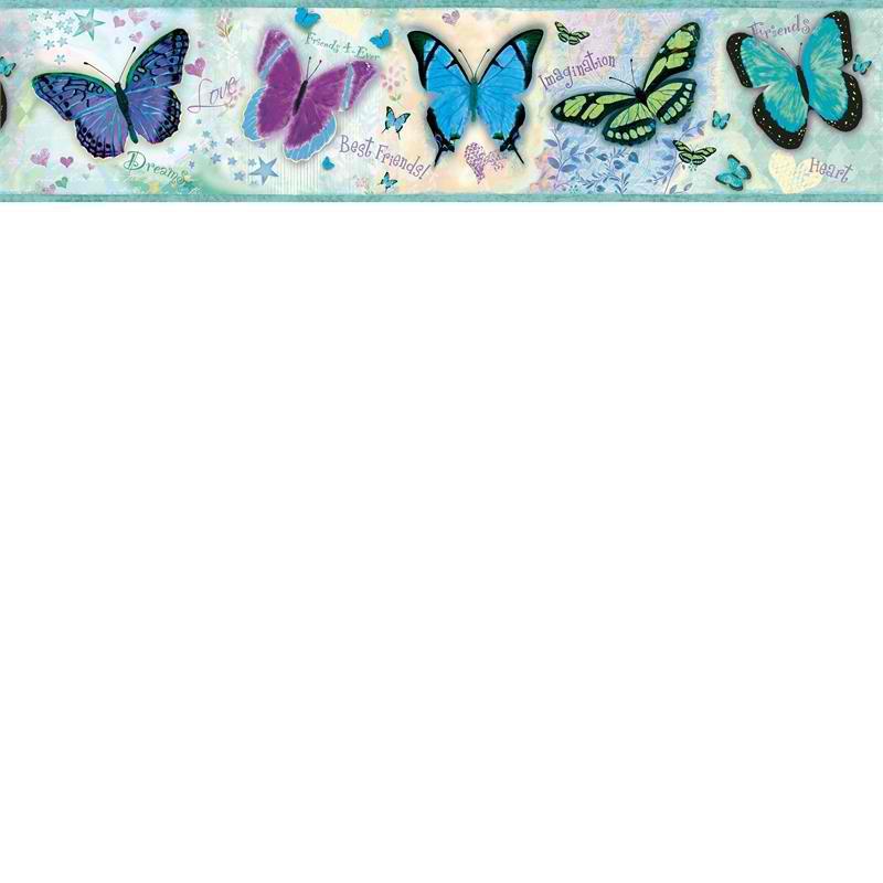 Blue BFF Butterflies Wallpaper Border   Baby Nursery Kids 800x800