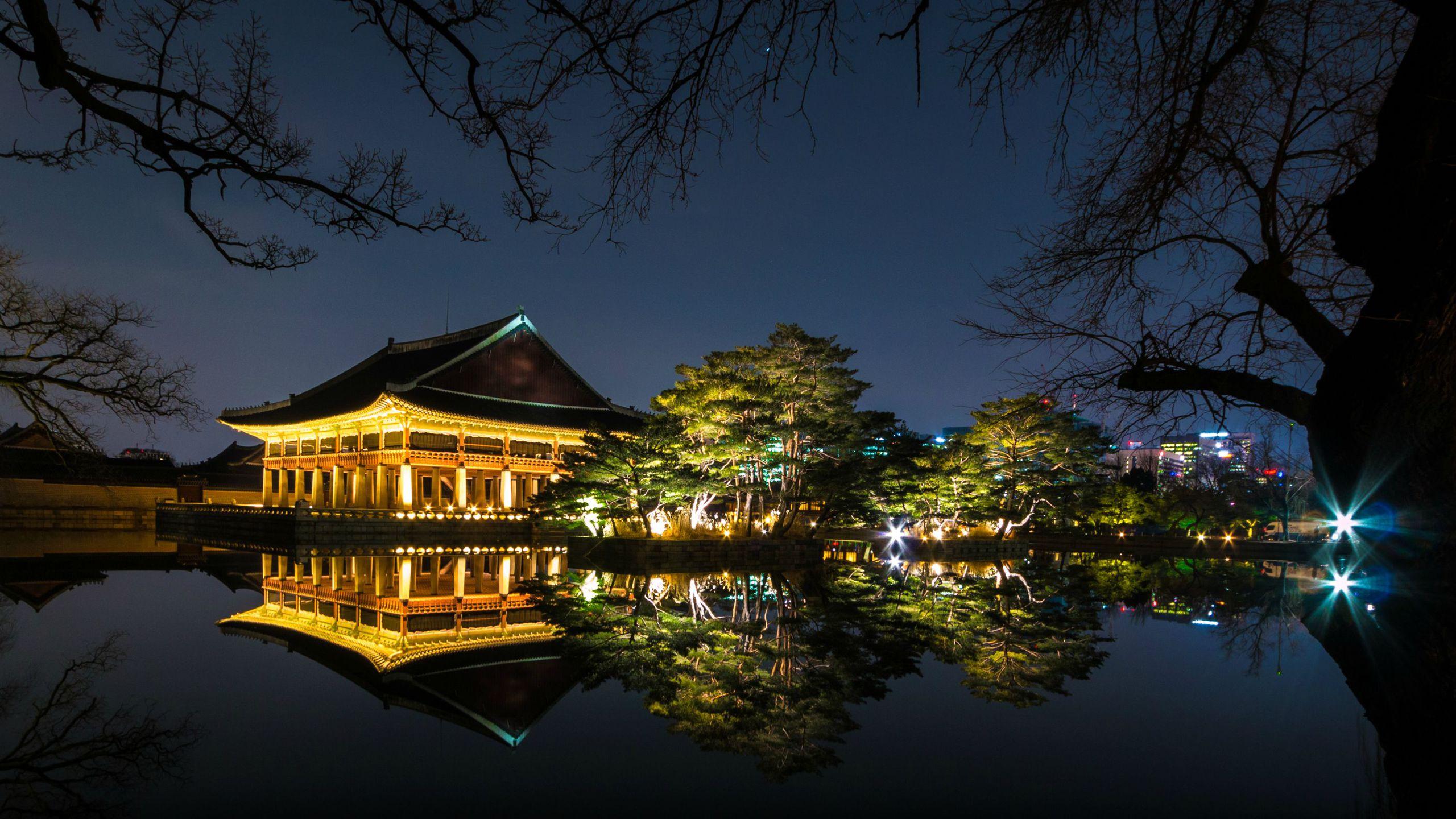 BOTPOST [BOTPOST] Gyeongbuk Palace Reflection Seoul Particularly 2560x1440