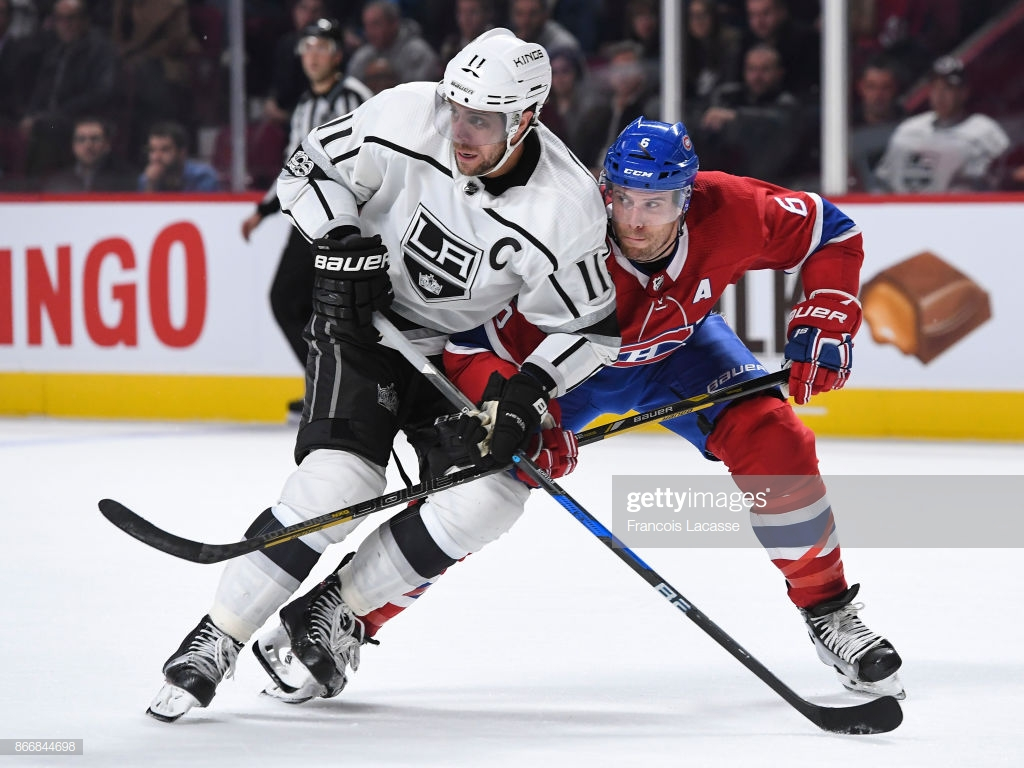 Shea Weber of the Montreal Canadiens defends against Anze Kopitar 1024x768