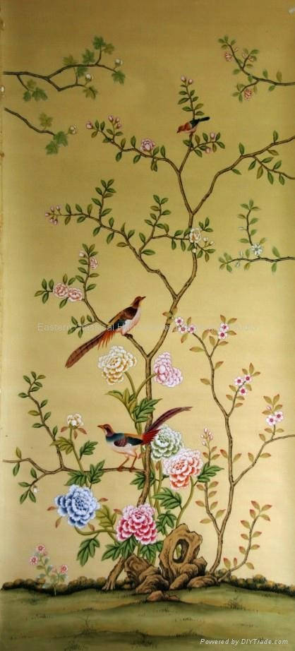hand painted Chinese art paper wallpaper silk wall coverings   EC 418x922