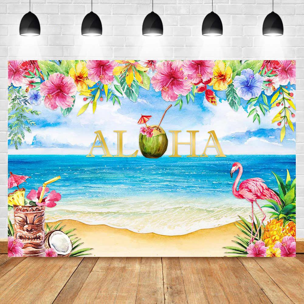 NeoBack Aloha Tiki Party Backdrop Hawaii Flamingo Photography 1000x1000