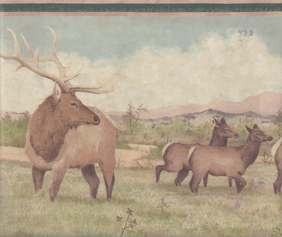Beige Green Deer Scenery Wallpaper Border   Country Folk 571x480