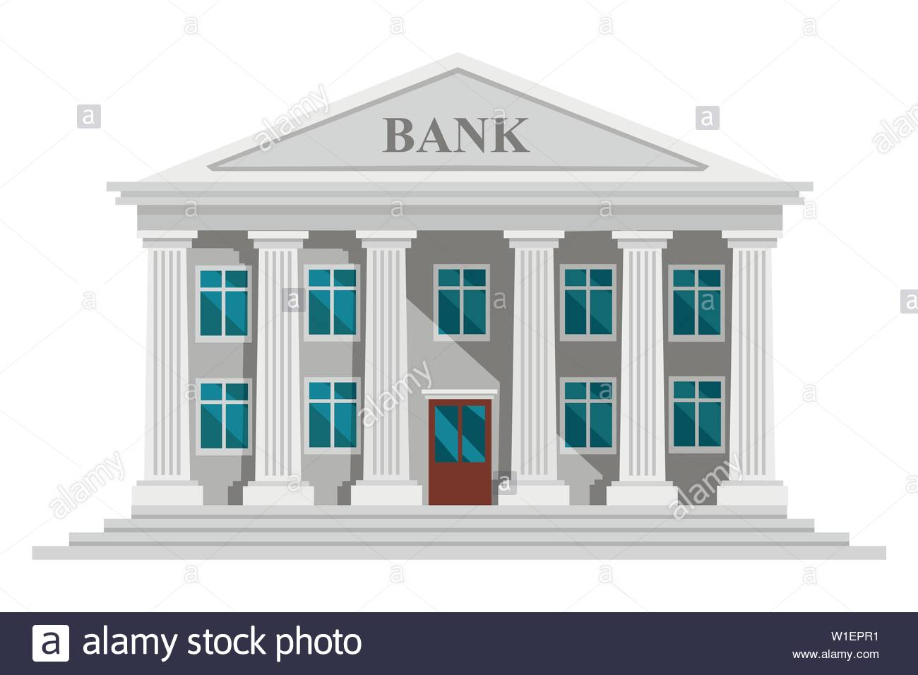 Flat design retro bank building with columns and windows vector 1300x956