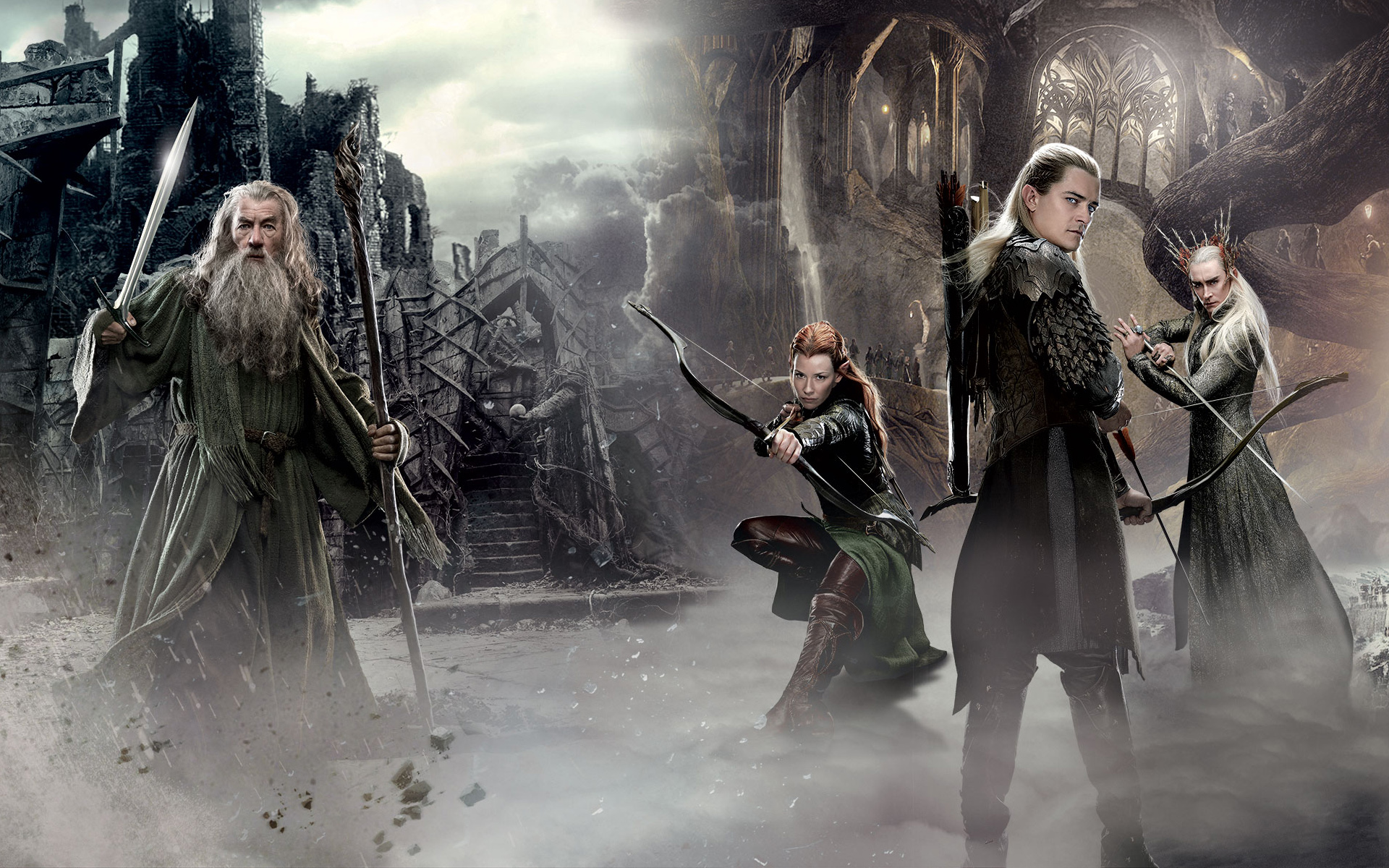 gandalf Legolas Tauriel Middle Earth poster film hd wallpaper 1920x1200