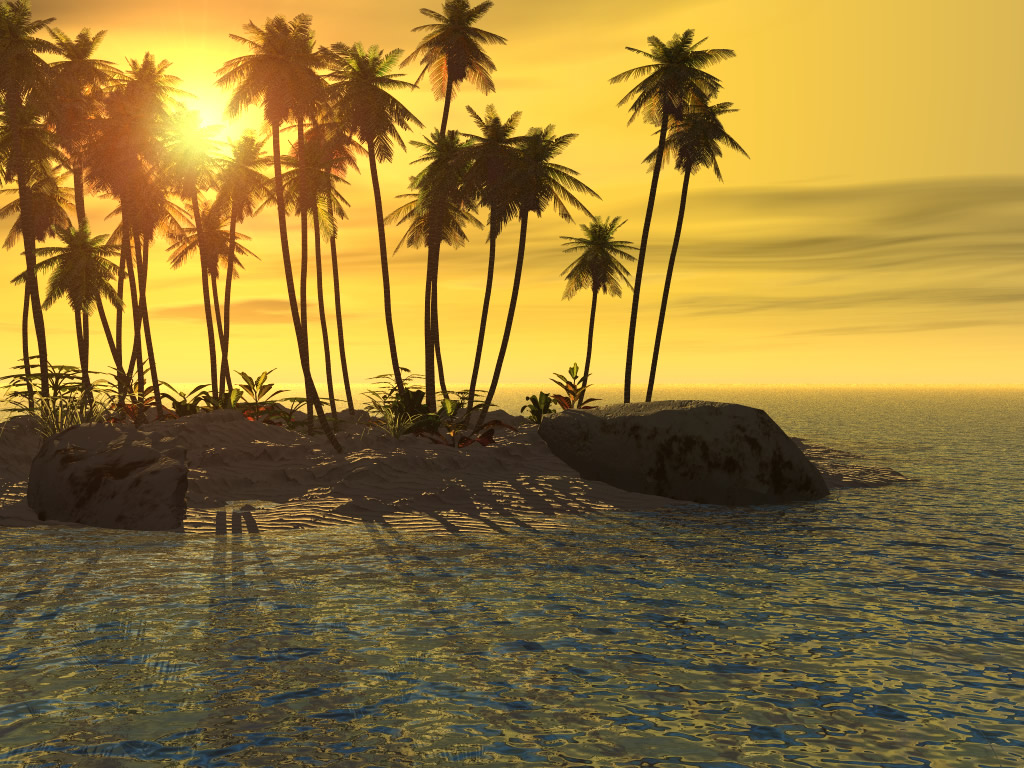 3d Abstract Sunset Beach From Another World Ipad Wallpaper: 3D Sunset Wallpaper