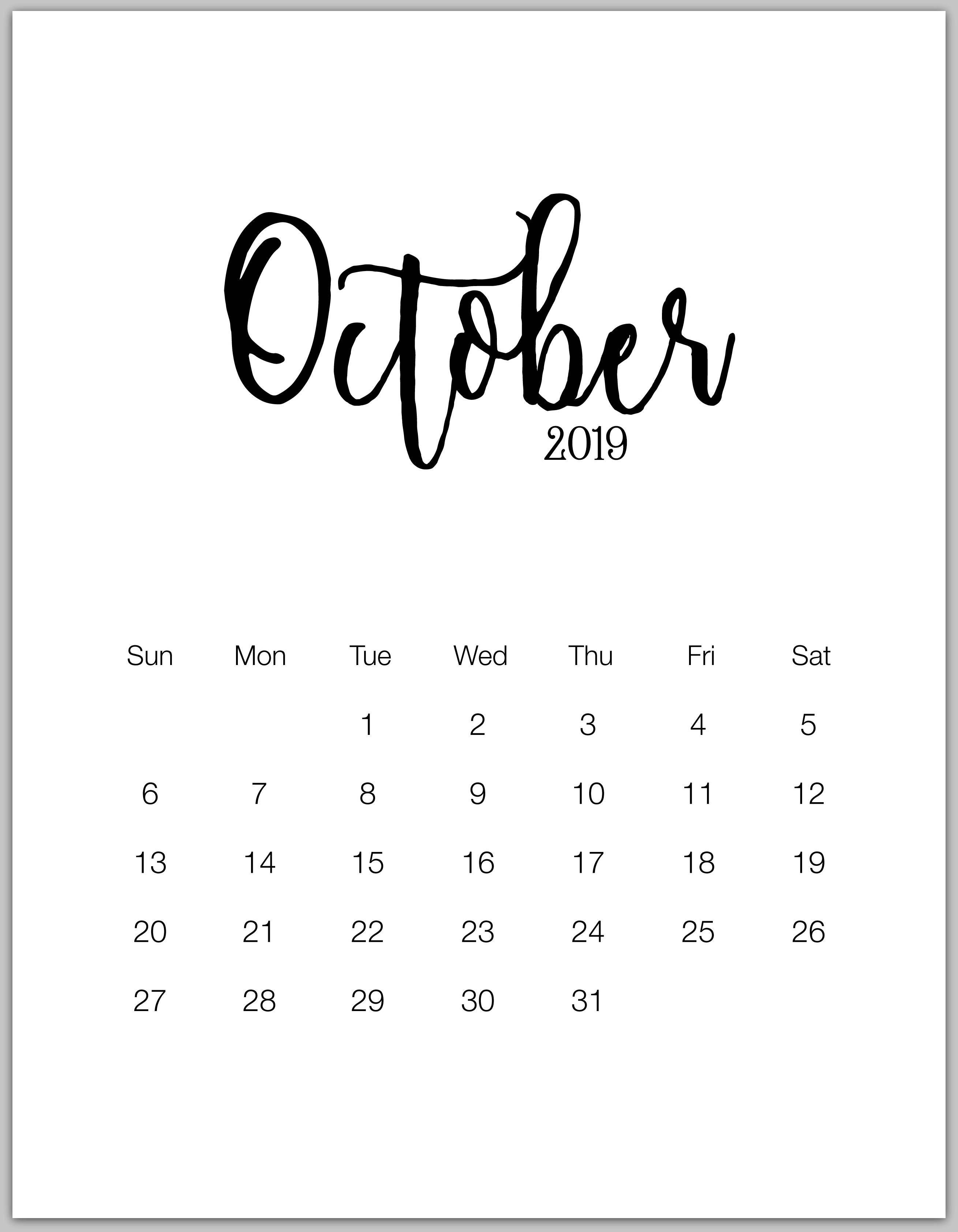 october 2019 minimalist calendar 2019 Calendars Calendar 2018 2618x3368