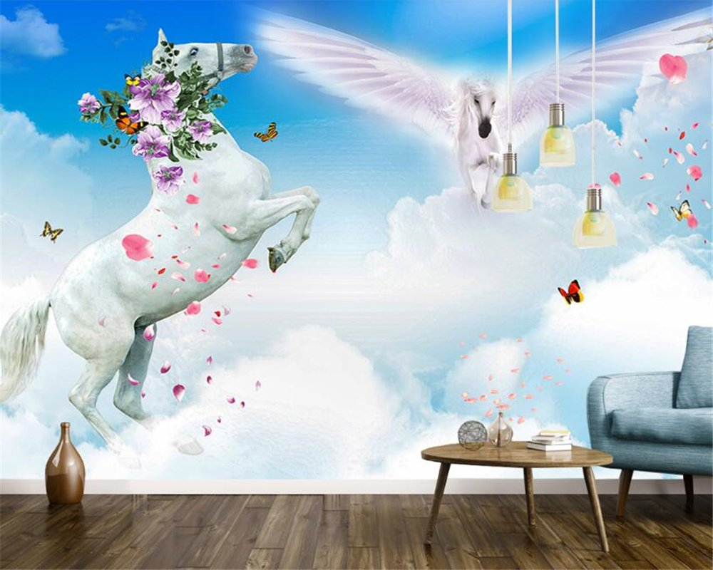 Mbwlkj Custom 3D Wallpaper Mural Blue Sky and White Clouds Jumping 1000x800