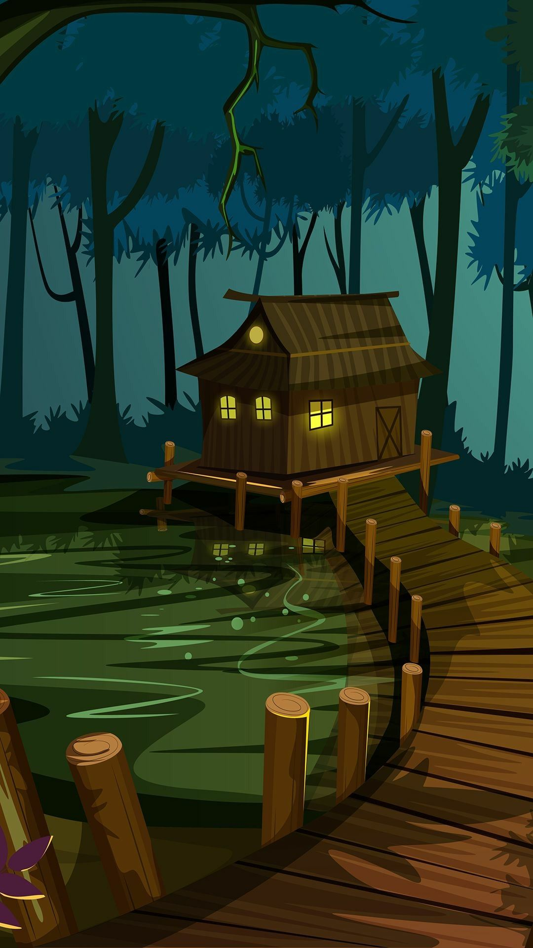 Shack in the swamp   Bayou house Cartoon forest and house with a 1080x1920