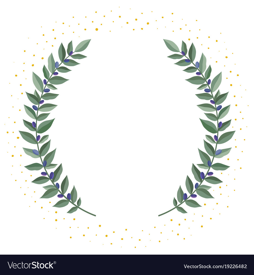 Black olive branches wreath on a white background Vector Image 1000x1080