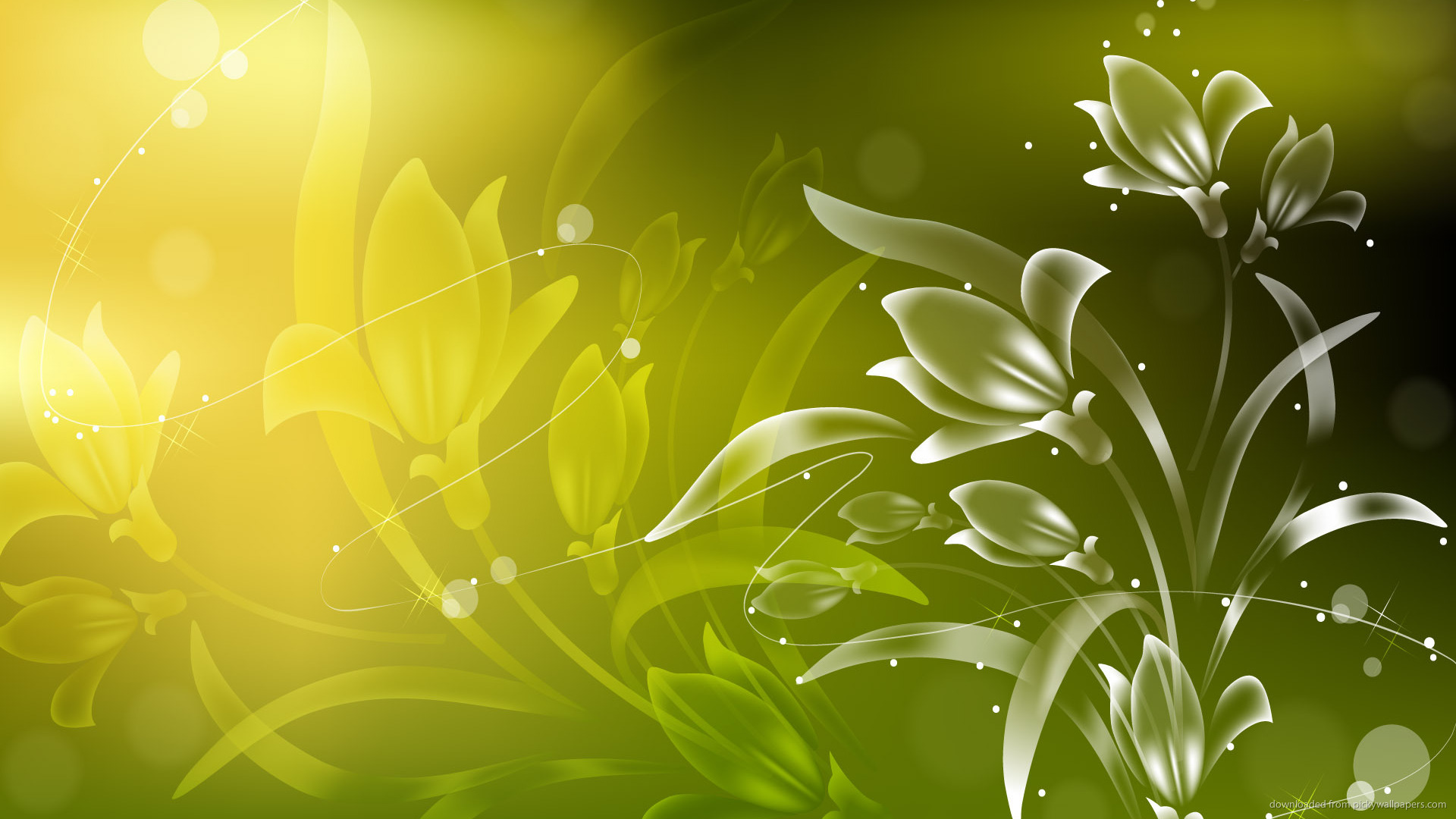 HD Green Flowers Wallpaper 1920x1080