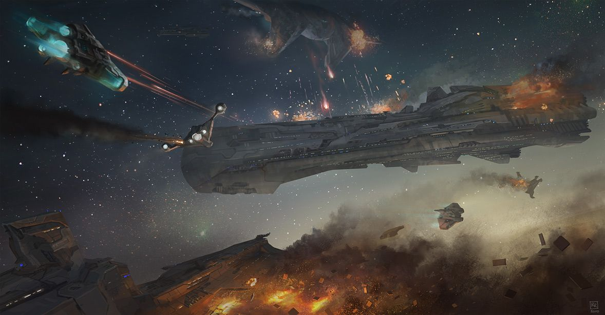 Space battle with capital ships and fighters Tech Art in 2019 1178x614