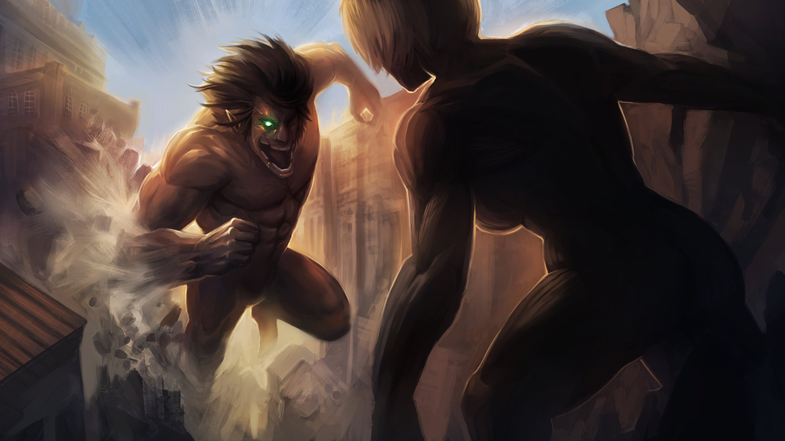 Attack on Titan   Eren vs Annie by MoshYong on deviantART 1600x900