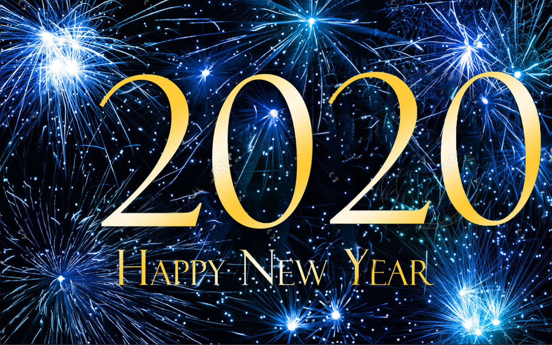 Happy New Year 2020 Blue Hd Wallpaper For Laptop And Tablet 1920x1200