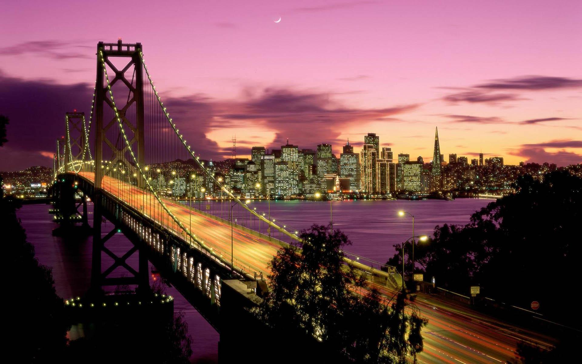 мост вечер мегаполис  № 3360635 бесплатно