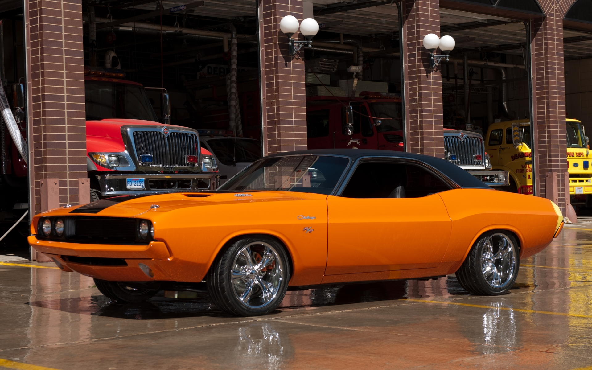 Dodge Challenger muscle cars hot rod custom orange wallpaper 1920x1200