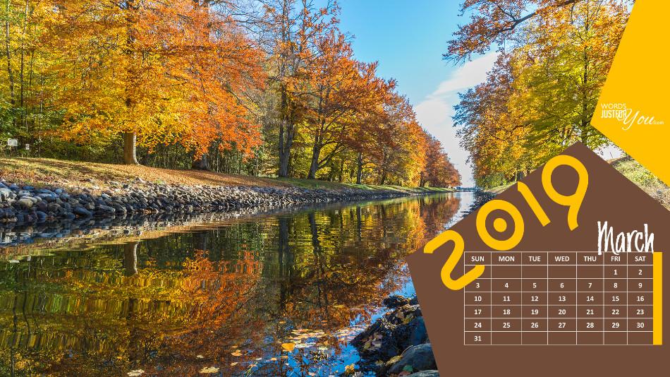 March 2019 Calendar HD Desktop Wallpaper Words Just for You 950x534